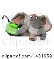 Clipart Of A 3d Elephant Holding A Gas Can On A White Background Royalty Free Illustration