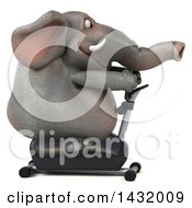 Clipart Of A 3d Elephant Exercising On A Spin Bike On A White Background Royalty Free Illustration by Julos