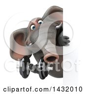 Clipart Of A 3d Elephant Working Out With A Dumbbell On A White Background Royalty Free Illustration by Julos