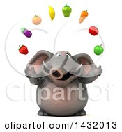 Clipart Of A 3d Elephant On A White Background Royalty Free Illustration by Julos