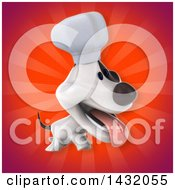 3d Chef Jack Russell Terrier Dog Over Rays