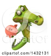 Clipart Of A 3d Crocodile On A White Background Royalty Free Illustration