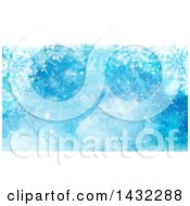 Clipart Of A Blue Watercolor Snowflake And Flare Winter Background Royalty Free Illustration by KJ Pargeter