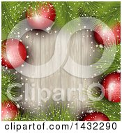 Clipart Of A Border Of 3d Red Snowflake Christmas Baubles And Pine Branches Over Wood Royalty Free Vector Illustration by KJ Pargeter