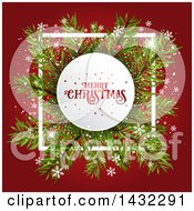 Clipart Of A Merry Christmas Greeting In A White Circle Over Branches With Snowflakes On Red Royalty Free Vector Illustration