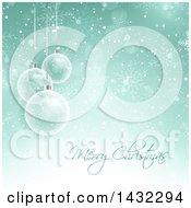 Clipart Of A Merry Christmas Greeting With 3d Transparent Glass Baubles And Snow On Green Royalty Free Vector Illustration