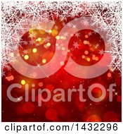 Clipart Of A Red Christmas Background With Bokeh Flares With White Snowflakes Royalty Free Illustration