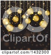 Clipart Of A Christmas Background Of Supsended 3d Gold Christmas Baubles And Confetti Royalty Free Vector Illustration