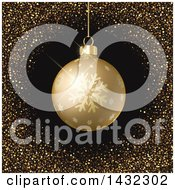 Clipart Of A 3d Gold Snowflake Christmas Bauble In A Frame Of Golden Glitter On Black Royalty Free Vector Illustration