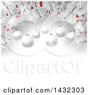 Clipart Of A 3d Christmas Border Background Of White Branches With Red Berries And Suspended Baubles Over Text Space Royalty Free Vector Illustration