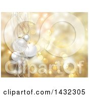 Clipart Of A Christmas Background Of 3d White Babules And Ribbons Over Golden Bokeh Flares Royalty Free Illustration