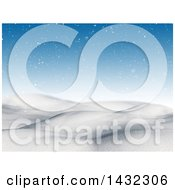 Clipart Of A 3d Hilly Winter Landscape With Snow And A Blue Sky Royalty Free Illustration