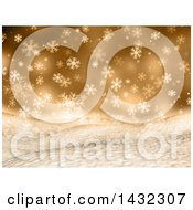 Clipart Of A 3d Hilly Winter Landscape With Snowflakes On Gold Royalty Free Illustration