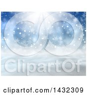 Clipart Of A 3d Hilly Winter Landscape With Snowflakes And Sunshine Royalty Free Illustration