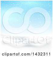 Clipart Of A 3d Hilly Winter Landscape With Snow Falling And Blue Sky Royalty Free Vector Illustration