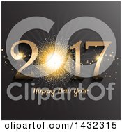 Clipart Of A 3d Happy New Year 2017 Greeting With A Gold Firework On Gray Royalty Free Vector Illustration by KJ Pargeter