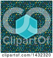 Clipart Of A Kaleidoscope Floral Patterned Invite Background With A Blue Frame Royalty Free Vector Illustration