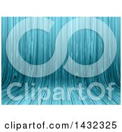Clipart Of A Blue Curved Wood Background Royalty Free Illustration