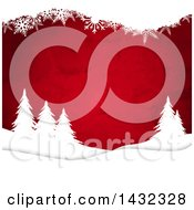 Christmas Background Of Red Watercolor And White Silhouetted Snowflakes And Evergreen Trees