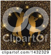Clipart Of A Silhouetted Couple Dancing In A Circle Of Sparkles And Glitter On Black Royalty Free Vector Illustration