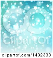 Clipart Of A Gradient Green And Blue Star And Bokeh Lights Background Royalty Free Vector Illustration