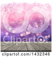 Clipart Of A 3d Wood Table Over Gradient Purple And Pink With Snowflakes And Bokeh Flares Royalty Free Illustration