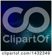 Clipart Of A Background Of Dots Forming A Wave On Blue Royalty Free Vector Illustration by KJ Pargeter