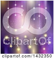 Clipart Of A Purple Background With Magical Stars Royalty Free Vector Illustration