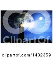 Clipart Of A 3d Silhouetted Lighthouse With A Shining Beacon Against Moons At Night Royalty Free Illustration by KJ Pargeter
