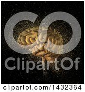 3d Human Brain With Glitter On Black