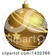 3d Gold Star And Stripe Patterned Christmas Bauble Ornament