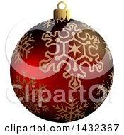 3d Red Snowflake Patterned Christmas Bauble Ornament