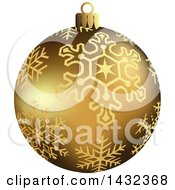 3d Gold Snowflake Patterned Christmas Bauble Ornament