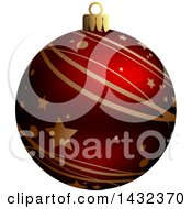3d Red Star And Stripe Patterned Christmas Bauble Ornament