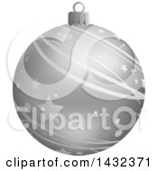 3d Silver Star And Stripe Patterned Christmas Bauble Ornament