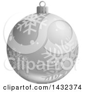 3d Silver Snowflake Patterned Christmas Bauble Ornament