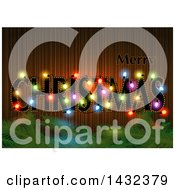 Clipart Of A Merry Christmas Greeting With Colorful Lights And Branches Royalty Free Vector Illustration