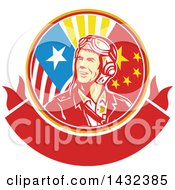 Clipart Of A Retro WWII Male Aviator Pilot In An American And Chinese Flag Circle Over A Blank Banner Royalty Free Vector Illustration