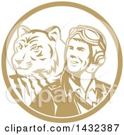 Clipart Of A Retro WWII Male Aviator Pilot And Tiger In A Tan And White Circle Royalty Free Vector Illustration