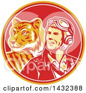 Clipart Of A Retro WWII Male Aviator Pilot And Tiger In A Yellow Red And White Circle Royalty Free Vector Illustration