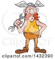 Clipart Of A Cartoon Viking Repair Man Holding A Wrench Royalty Free Vector Illustration by patrimonio