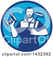 Poster, Art Print Of Retro Handy Man Holding A Paint Roller And A Cordless Drill In A Blue Circle