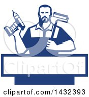 Clipart Of A Retro Handy Man Holding A Paint Roller And A Cordless Drill Over A Blue And White Frame Royalty Free Vector Illustration by patrimonio