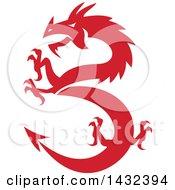 Poster, Art Print Of Retro Red Rampant Dragon