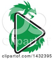 Clipart Of A Retro Green Dragon And A Play Button Royalty Free Vector Illustration