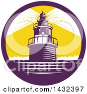 Clipart Of A Retro Woodcut Lighthouse With Lights Shining In A Purple White And Yellow Circle Royalty Free Vector Illustration by patrimonio