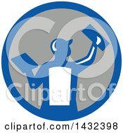Clipart Of A Rear View Of A Retro Male Plasterer Worker Using Trowels In A Blue White And Gray Circle Royalty Free Vector Illustration