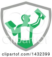 Clipart Of A Rear View Of A Retro Male Plasterer Worker Using Trowels In A Gray White And Green Crest Royalty Free Vector Illustration