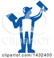 Clipart Of A Rear View Of A Retro Male Plasterer Worker Using Trowels In Blue And White Royalty Free Vector Illustration