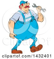 Cartoon Chubby German Repair Man Holding A Spanner Wrench And Walking